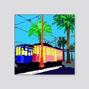 "Cable Car Cocktail Square Sticker 3"" x 3"""