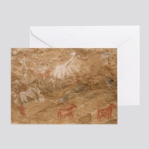 Pictograph of humans and animals, Li Greeting Card