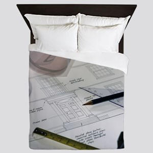 Architectural drawings Queen Duvet