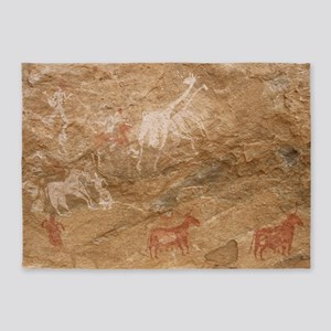Pictograph of humans and animals, L 5'x7'Area Rug