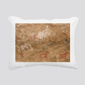 Pictograph of humans and Rectangular Canvas Pillow
