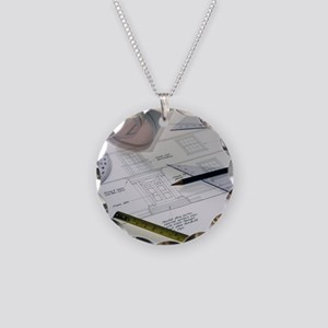 Architectural drawings Necklace Circle Charm