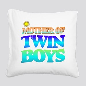 Twin boys mother Square Canvas Pillow