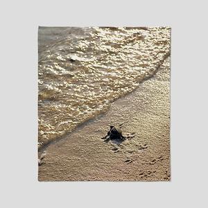Green turtle hatchling Throw Blanket