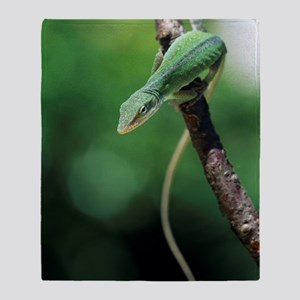 Green anole Throw Blanket