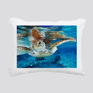 Green turtle Rectangular Canvas Pillow
