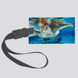 Green turtle Large Luggage Tag