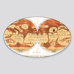 Mars map from 1881 Sticker (Oval)