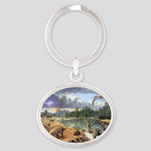 Early Cretaceous life, artwork Oval Keychain