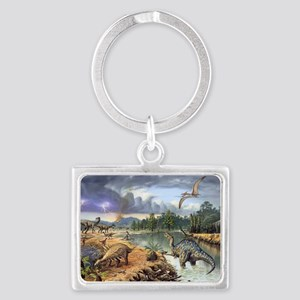 Early Cretaceous life, artwork Landscape Keychain
