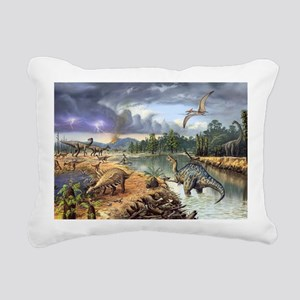 Early Cretaceous life, a Rectangular Canvas Pillow