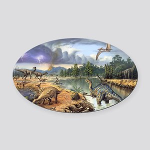 Early Cretaceous life, artwork Oval Car Magnet