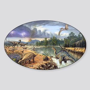 Early Cretaceous life, artwork Sticker (Oval)