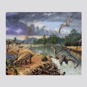 Early Cretaceous life, artwork Throw Blanket