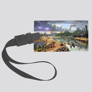 Early Cretaceous life, artwork Large Luggage Tag