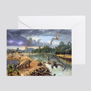 Early Cretaceous life, artwork Greeting Card