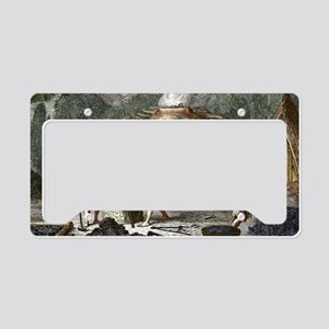 Early humans smelting iron License Plate Holder