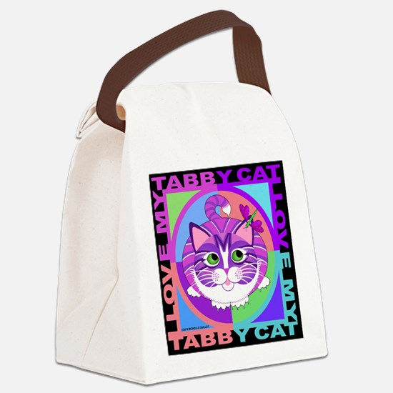 Tabby Cat Graphics Canvas Lunch Bag