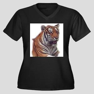 tiger 6 Women's Plus Size V-Neck Dark T-Shirt