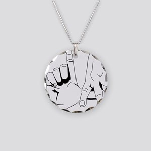 L.A. Hand Sign Necklace Circle Charm