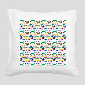 Mustache Color Pattern Square Canvas Pillow