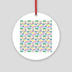 Mustache Color Pattern Round Ornament