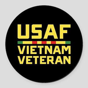USAF Vietnam Veteran Round Car Magnet