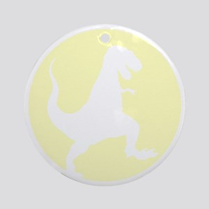 Yellow TRex Rampage Round Ornament