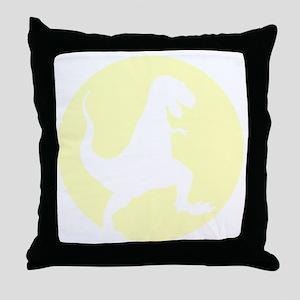 Yellow TRex Rampage Throw Pillow