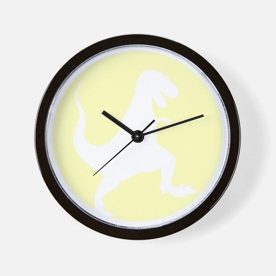Yellow TRex Rampage Wall Clock