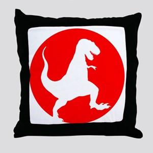 Red TRex Rampage Throw Pillow