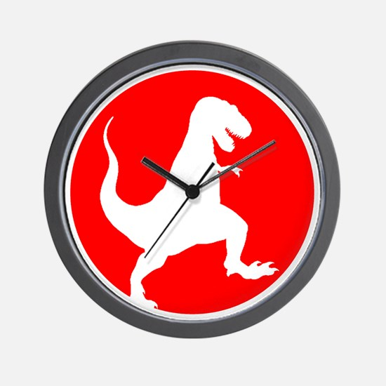 Red TRex Rampage Wall Clock