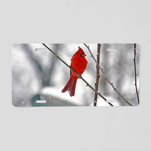 snowy cardinal Aluminum License Plate