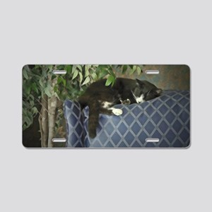 Napping Cat Aluminum License Plate