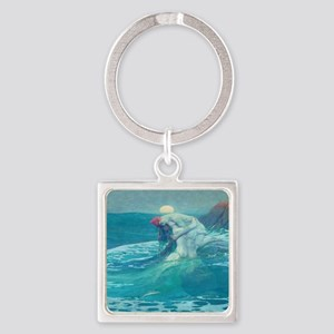 Vintage Mermaid and Mortal Square Keychain