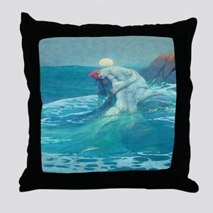 Vintage Mermaid and Mortal Throw Pillow