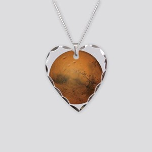 Planet Mars Necklace Heart Charm
