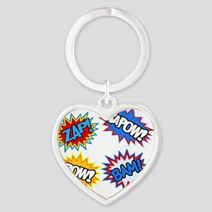 Hero Pow Bam Zap Bursts Heart Keychain