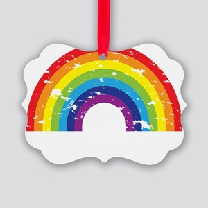 VeganRainbow_WhiteText Picture Ornament