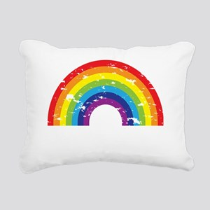 VeganRainbow_WhiteText Rectangular Canvas Pillow
