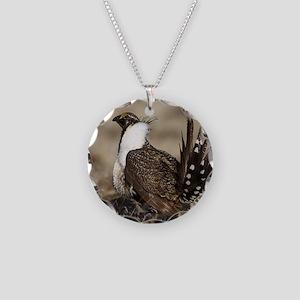 Sage Grouse Strut Necklace Circle Charm