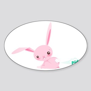 Cute Bunny Poots Sticker (Oval)