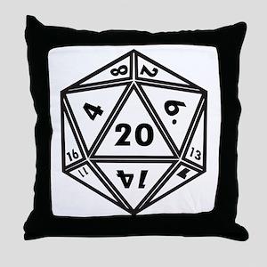 D20 White Throw Pillow