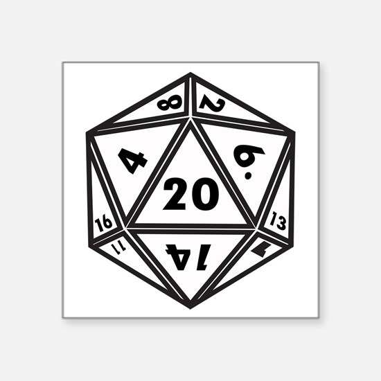 "D20 White Square Sticker 3"" x 3"""
