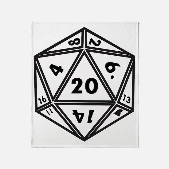 D20 White Throw Blanket