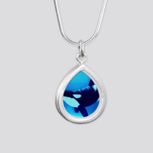 Killer Whale Silver Teardrop Necklace