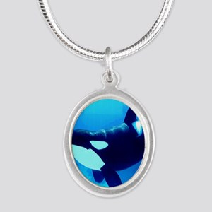 Killer Whale Silver Oval Necklace