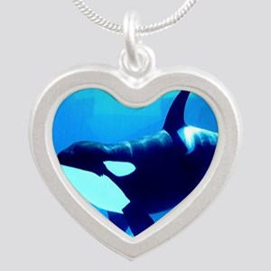 Killer Whale Silver Heart Necklace