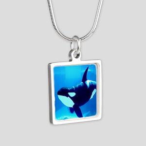 Killer Whale Silver Square Necklace