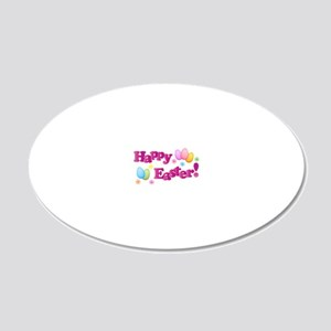 Happy Easter Bunny 20x12 Oval Wall Decal